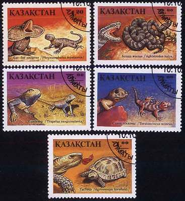KAZAKHSTAN (01/1) 1994 Reptiles Turtle Snake Used 5 diff. Stamps !