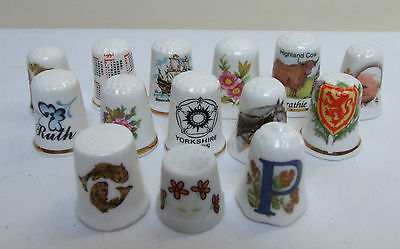 14 China Thimbles Collectable Fenton Royal Grafton Flowers Horses Yorkshire Pope