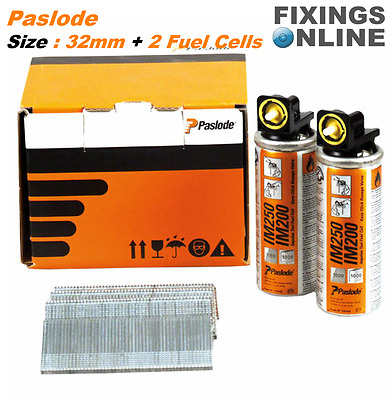 PASLODE 2000 x 32mm 16g Straight Nails  + 2 Fuel Cells for Paslode IM250 & IM65