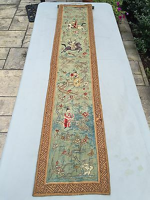 Antique Chinese Qing Hanging Embroidered Banner Fine Embroidery Panel
