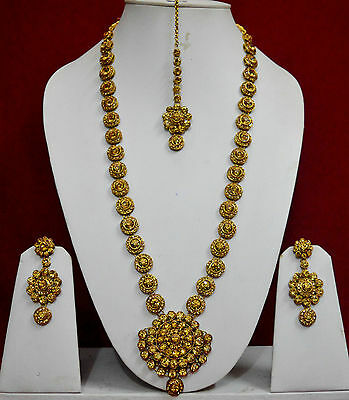 Indian Bridal Costume Jewellery Rani Haar Long Necklace Earring Gold Sets f42n1