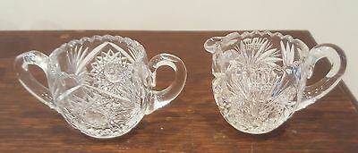 Cut glass sugar bowl & creamer set