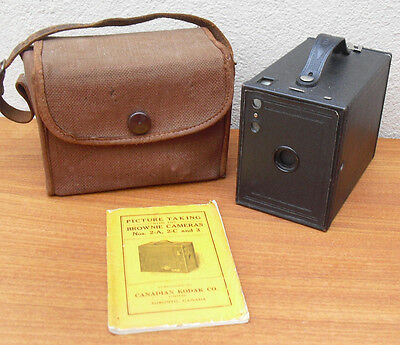 Vintage Box Brownie No 2 by Kodak in case with instruction manual