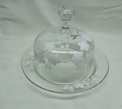 Vintage Antique Hand Painted Art Glass Covered Dish