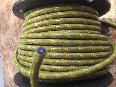 Green With Yellow Tracers, Magneto Spark Plug Wire 7Mm Solid Copper Core, Woven