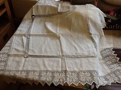 Antique White Linen Tablecloth With Lace And Thread Work
