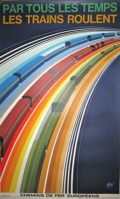 Vintage French Train Ad Poster on Linen