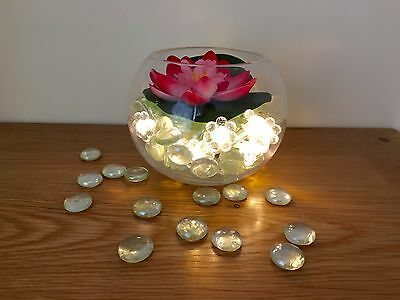 WEDDING TABLE DECORATION FlOWER PARTY CENTREPIECE FISH BOWL GLASS STONES LIGHTS