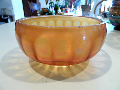 """5 1/2"""" x 2 1/2"""" Antique Glass Carnival Marigold VERTICAL RIBBED CANDY DISH/BOWL"""