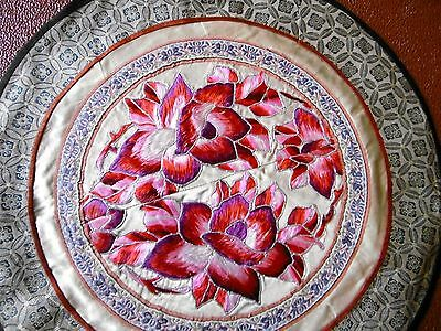 Vintage, Stunning Hand Embroidered 'Chinese Plate' Silver threads, ?Society Silk