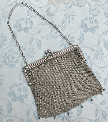 Fabulous Antique - SOLID SILVER Mesh evening bag with bow design clasp - c1900