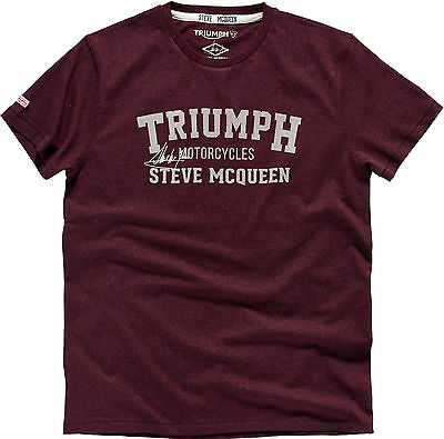 Genuine Triumph Motorcycles Oliver T-Shirt Steve Mcqueen T Shirt In Burgandy