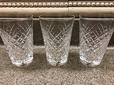 "3 Rare Waterford Crystal Straight sided Comeragh  Flat Tumbler Glass 5"" x 3.25"""
