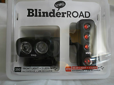 Bike Cycle Bicycle Knog Blinder Road Front And Rear Set Rechargeable In Black