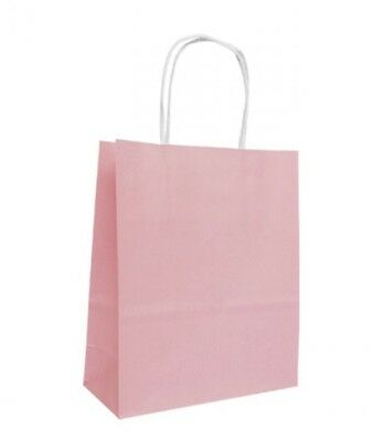 10 x SMALL PINK CREAM SILVER WHITE PAPER GIFT BAGS BIRTHDAY PARTY BAGS 22cm