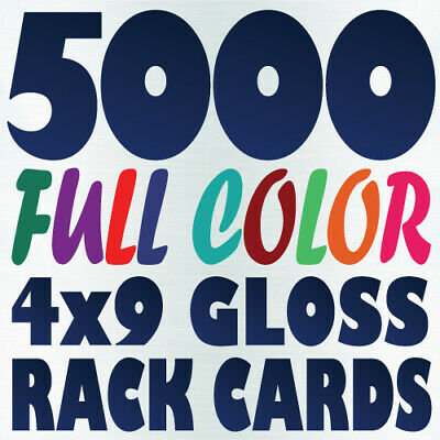 5000 4x9 Full Color Custom RACK CARD Postcard Printing on 16pt UV Gloss or Matte