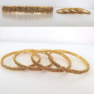 Bollywood Style/ Indian Jewellery/ Party wear/ 4 bangles/ Gold Diamante