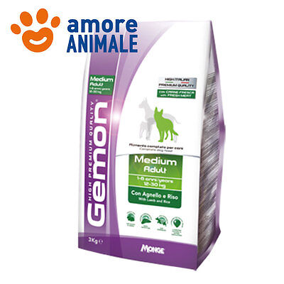 Monge Gemon Medium Adult agnello e riso 15 kg - Crocchette per cane cani adulti