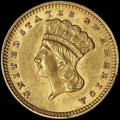 1862 Type 3 Indian Princess Gold Dollar - Civil War Issue - Free Shipping in USA