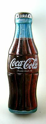 "Collectible 1996 COCA COLA Bottle Shaped Tin 9.25x3"" (2 pc) Storage -VGC"