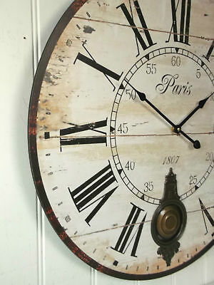 EXTRA LARGE 60cm ANTIQUE FRENCH VINTAGE STYLE WALL CLOCK SHABBY CHIC RETRO NEW