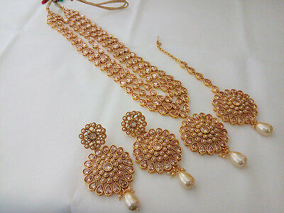 Indian Fashion Jewelry AD Long Rani haar ethnic gold traditional bollywood set