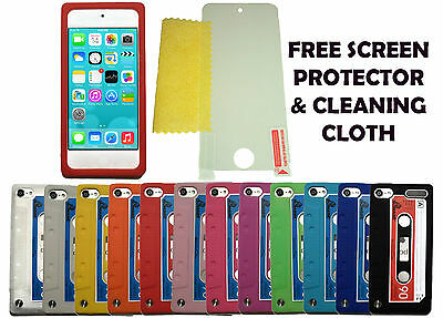 Cassette Tape Case Cover + Screen Protector For Apple iPod Touch 5 & 6 Gen