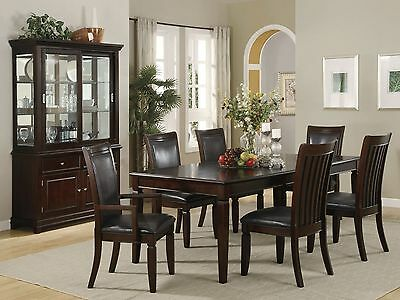 PALM-7pcs Contemporary Brown Rectangular Dining Room Table Chairs Set Furniture