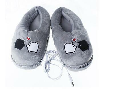 USB Plush Slippers Heated Slippers Electric Heating Foot Warmer Piggy WinterGift