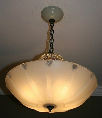 Antique cream glass sunflower art deco light fixture ceiling chandelier 1940s