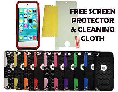 Mesh Hard Case Cover + Screen Protector For Apple iPod Touch 5 & 6 Generation