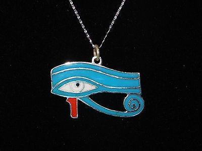 "Egyptian 925 Sterling Silver 2"" Enameled Eye Of Horus Pendant W. Free Chain 12G."
