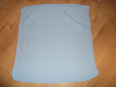 Hand Knitted Baby Blanket,Recently Completed Pale Blue - New