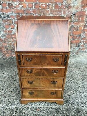 Small Narrow Vintage Walnut Reproduction Bureau - Writing Desk With Four Drawers