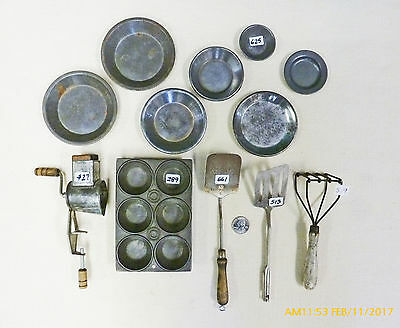 Antique Vintage toy kitchen items, grinder, AJ flipper, muffin tin, masher, tins