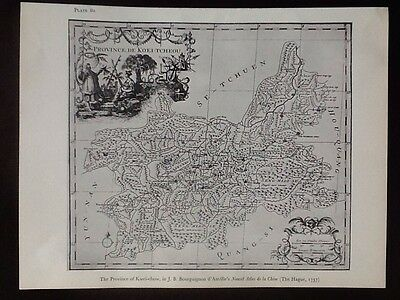 Black & White Map Of Province Of Kwei-chow In China, 1737, Bourguignon D'Anville