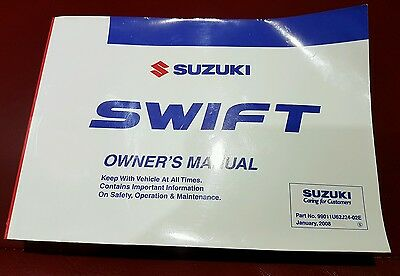 SUZUKI SWIFT  p.N.99011U62J24_02E UK OWNERS MANUAL HANDBOOK  GENUINE