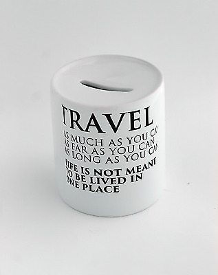 Money box with Quote about travel