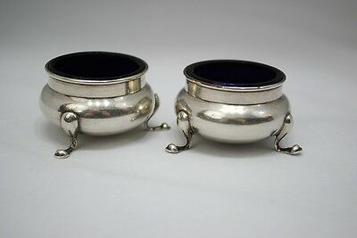 Pair of Gorhman Sterling Silver Footed Salt Dip Cellars with Cobalt Blue Glass