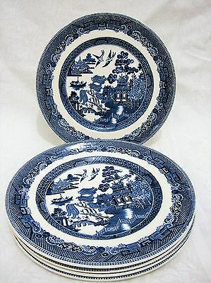 "x4 Johnson Brothers Willow Pattern Salad Side Plates 8"" VGC"