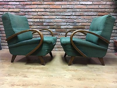 A PAIR OF ART DECO ARMCHAIRS / POLTRONE / SESSEL 1950's By J.Halabala