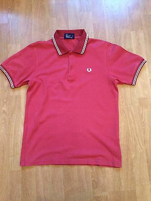 Fred Perry 100% Cotton Pique Rust Short Sleeve Polo Shirt Size Medium