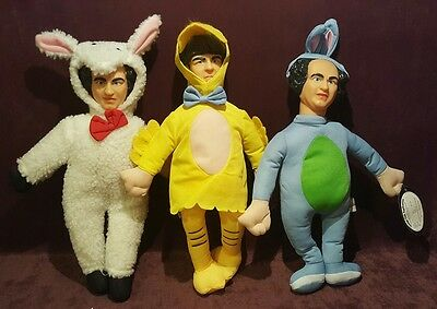 3 Three Stooges Stuffed Plush Dolls In Costumes Curly Larry And Moe