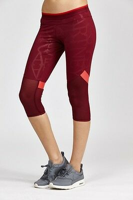 new Adidas Stella McCartney Darwin Maroon Purple 3/4 Running Tight Leggings S