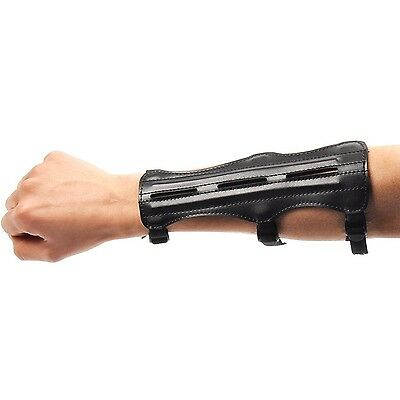 ANTSIR Adjustable Black 3 Strap Leather Shooting Archery Arm Guard Protection...