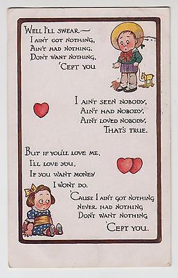 "POSTCARD - children ""I ain't got nothing"" poem/rhyme love hearts ""Katchy"" series"