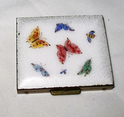 Beautiful Vintage Brass Guilloche Enamel w/ Butterflies Compact Trinket Box 3