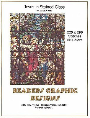 JESUS IN STAINED GLASS Counted Cross Stitch detailed #0453