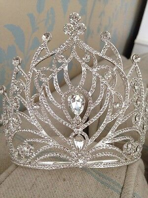 11.5 Cms Tall Pageant Tiara Crown. Wedding / Stage Prop . Full Large Tiara