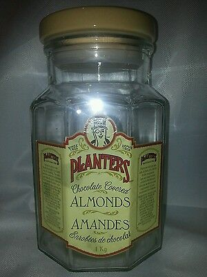 "Planters Peanut Chocolate Covered Almonds Glass Jar 8.25"" Canister"